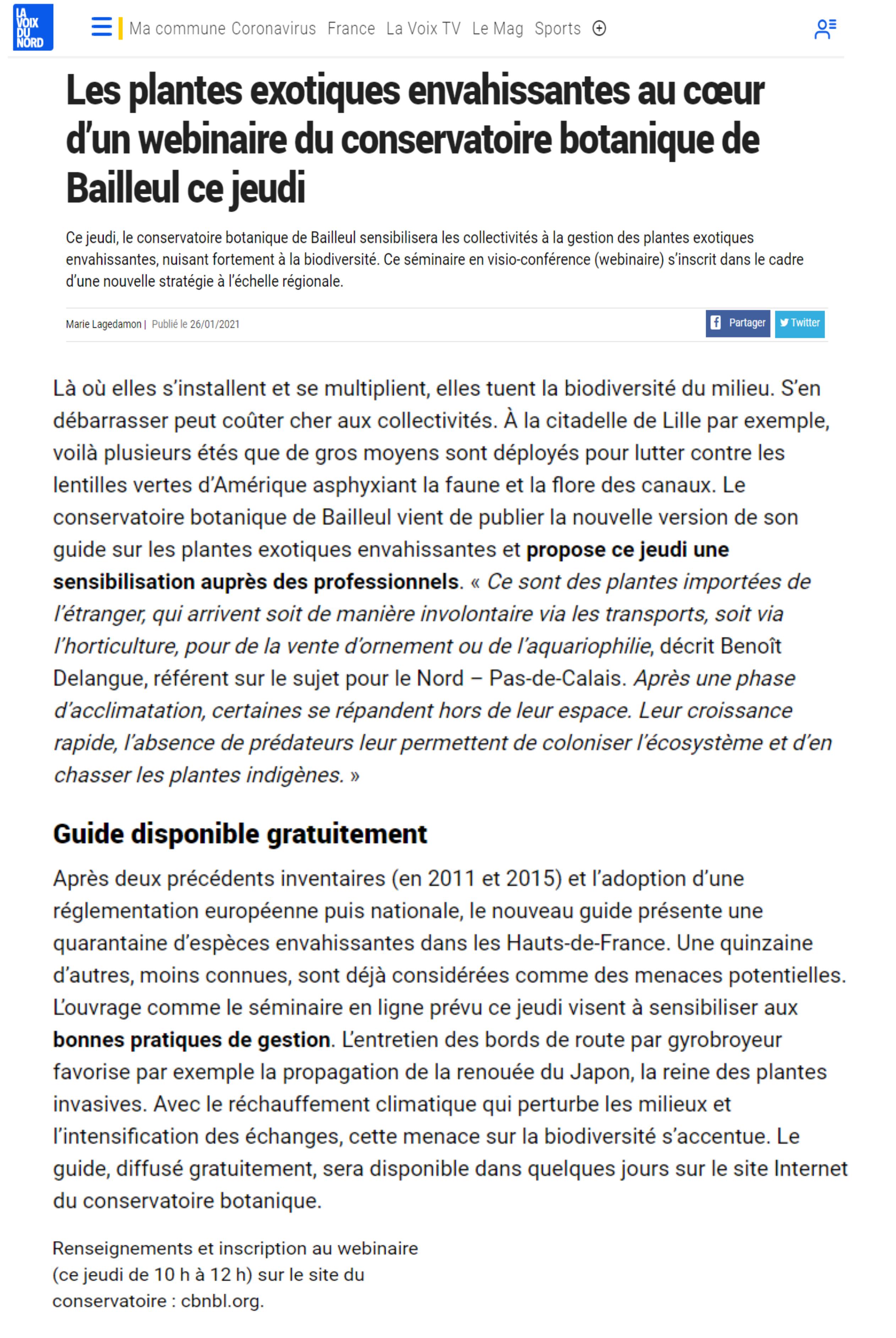 Article de La Voix du Nord - Webinaire CBNBl