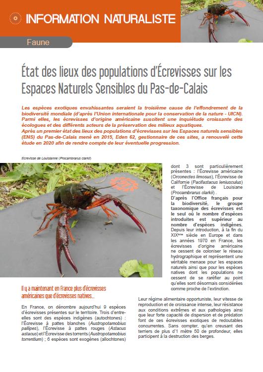 État des lieux des populations d'Écrevisses sur les Espaces Naturels Sensibles du Pas-de-Calais